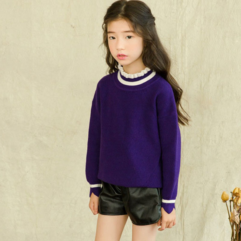 все цены на knitted baby girls sweater autumn winter wave cut little kids knit sweater purple pink long sleeve tops 2018 children clothing