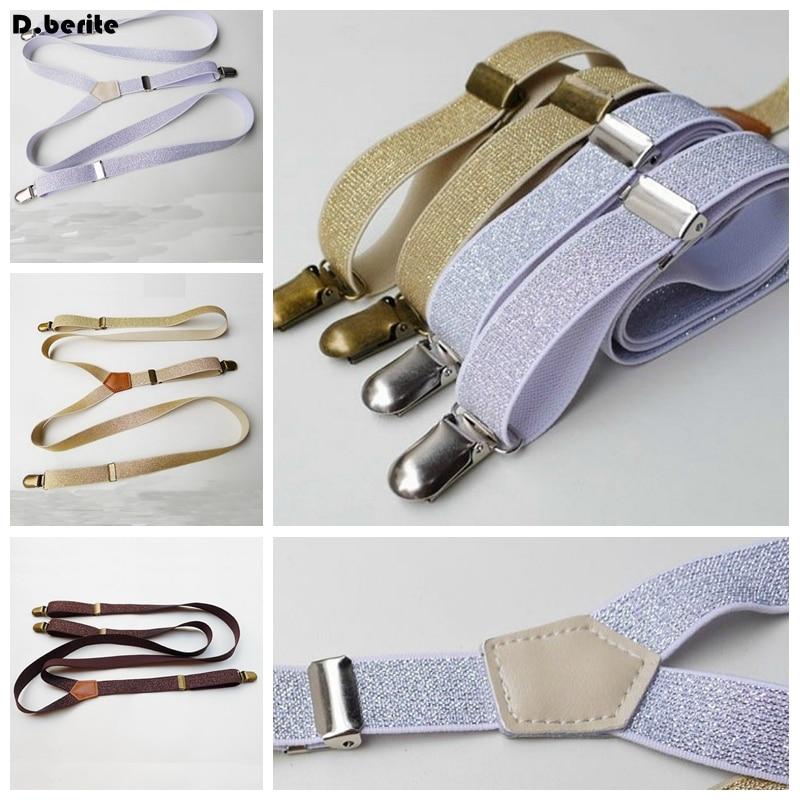 Men's Solid Plain Braces Adjustable Unisex Fashion Glitter Suspenders Clip-on Braces Adult Belt Strap For Wedding Party BDXJ201