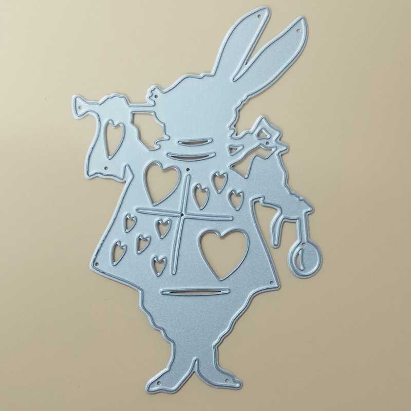 Alice Wonderland White Rabbit Metal Cutting Dies Stencil DIY Scrapbooking Decorative Craft Photo Album Embossing Folder Paper