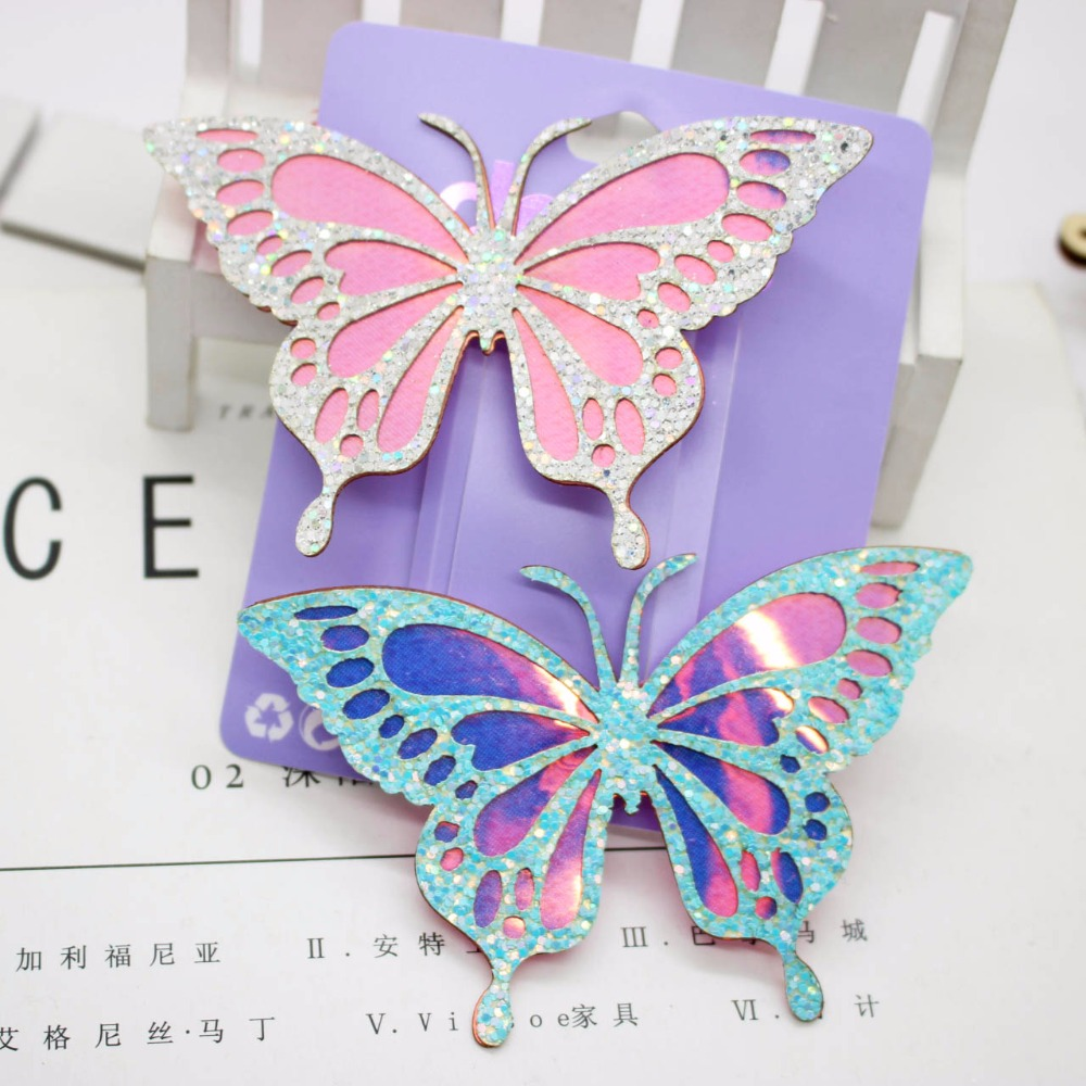 1 piece beautiful white&blue AB color hair clips big glitter butterfly barrettes hairpins for women hair accessories