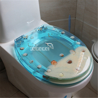 New 47*38CM High grade Beautiful Light Blue Really Dry Flower Shells Resin Toilet Seat Cover U/V/O Type Universal Toilet Cover
