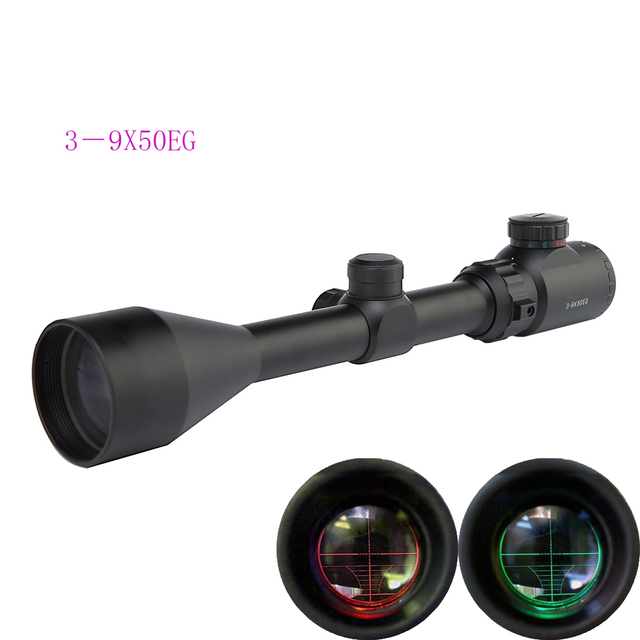 3-9X50AOEG Rifle Scope Compact Optics Hunting Reticle Riflescope with Red and Green Range finder Reticle Riflescope