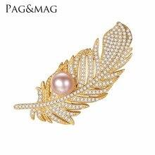 PAG & MAG Nova Marca Chegada Da Moda 925 Sterling Silver Feather Broche Pin Inlay Pérola da Cor do Ouro Jóias Acessório Para mulheres