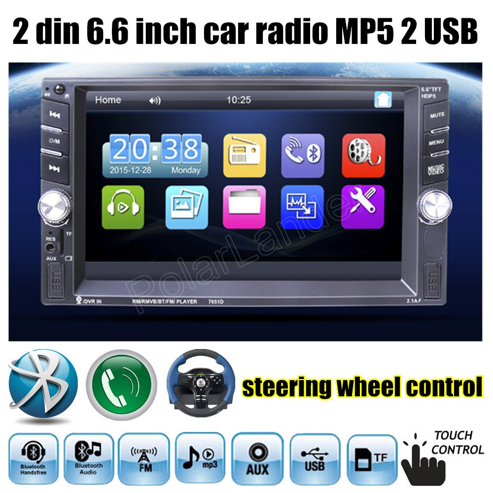 steering wheel control 2 Din Car Radio MP5 MP4 Player 6.6 inch Touch Screen Bluetooth Stereo FM Video 2 USB port FM DVR input