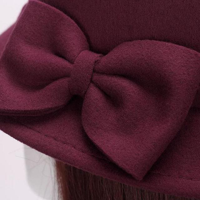 2017 Spring Fashion Vintage Women Ladies Wool Fedora Hat Bucket Dome Bell Bow Felt Hats Women Cap Hats Hat 6 color 3
