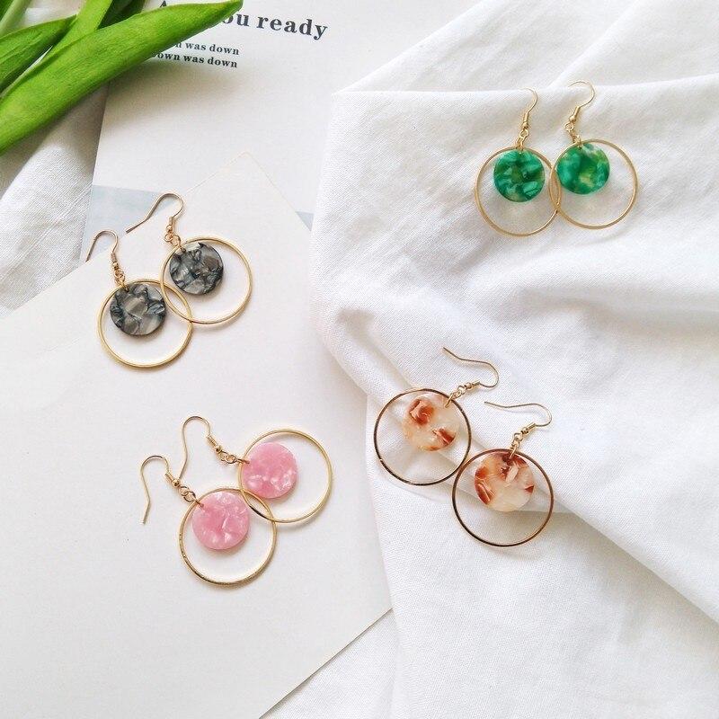 Japan fashionista temperament simple ear ring round female acetate sheet retro Pink Girl Korean character hook Earrings