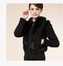 Women'S Casual Rabbit Fur Short Coat Knit Wool Cardigan Sweater Winter And Autumn Fashion Patchwork Hooded Knit Sweater J432