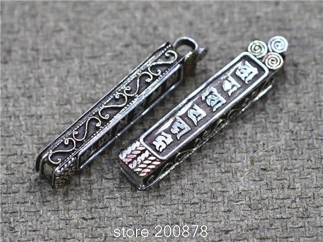 T9142 Tibetan OM MANI PADME HUM Amulet prayer box,Nepal 925 sterling silver Pendant Wholesale Nepal Handmade Silver Jewel