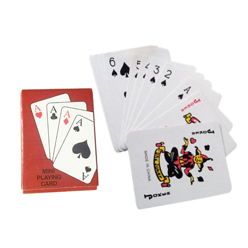 Portable Mini Small Playing Poker Cards Poker Interesting Playing Card Board Game Outside Outdoor or Travel Mini Size Pokers