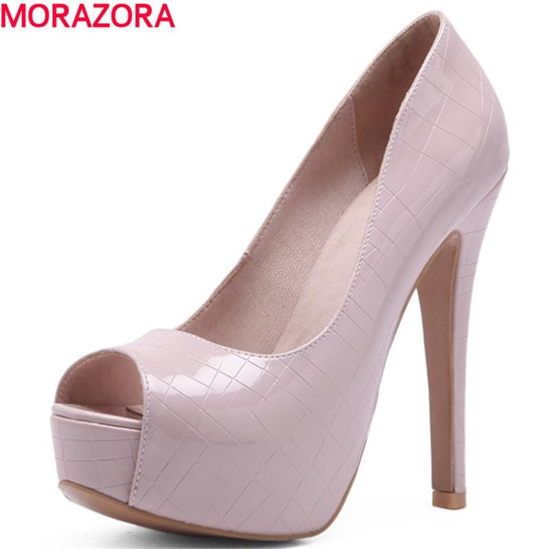 MORAZORA new simple women platform shoes pumps peep toe shoes summer party shallow mouth Solid color