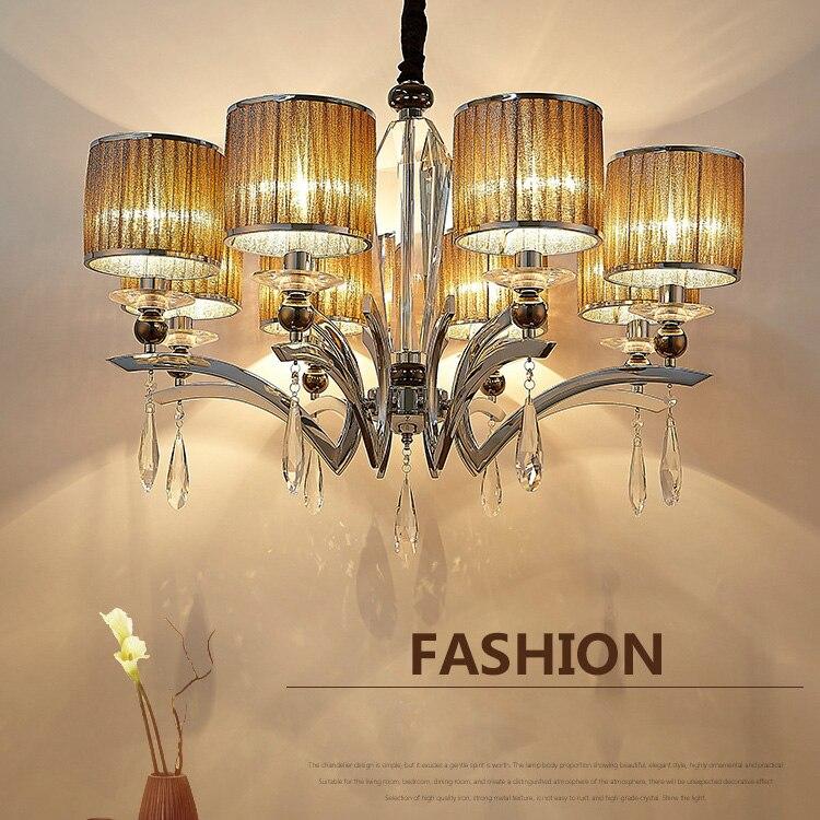 Lustre en cristal de luxe Led 6/8/10 têtes K9 lampe en cristal E14 Led ampoule pendentif Led lustre porche lumières AC110-240V