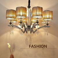 Luxury Led Crystal Chandelier 6 / 8 / 10 Heads K9 Crystal Light Lamp E14 Led Bulb Led Pendant Chandelier Porch Lights AC110 240V
