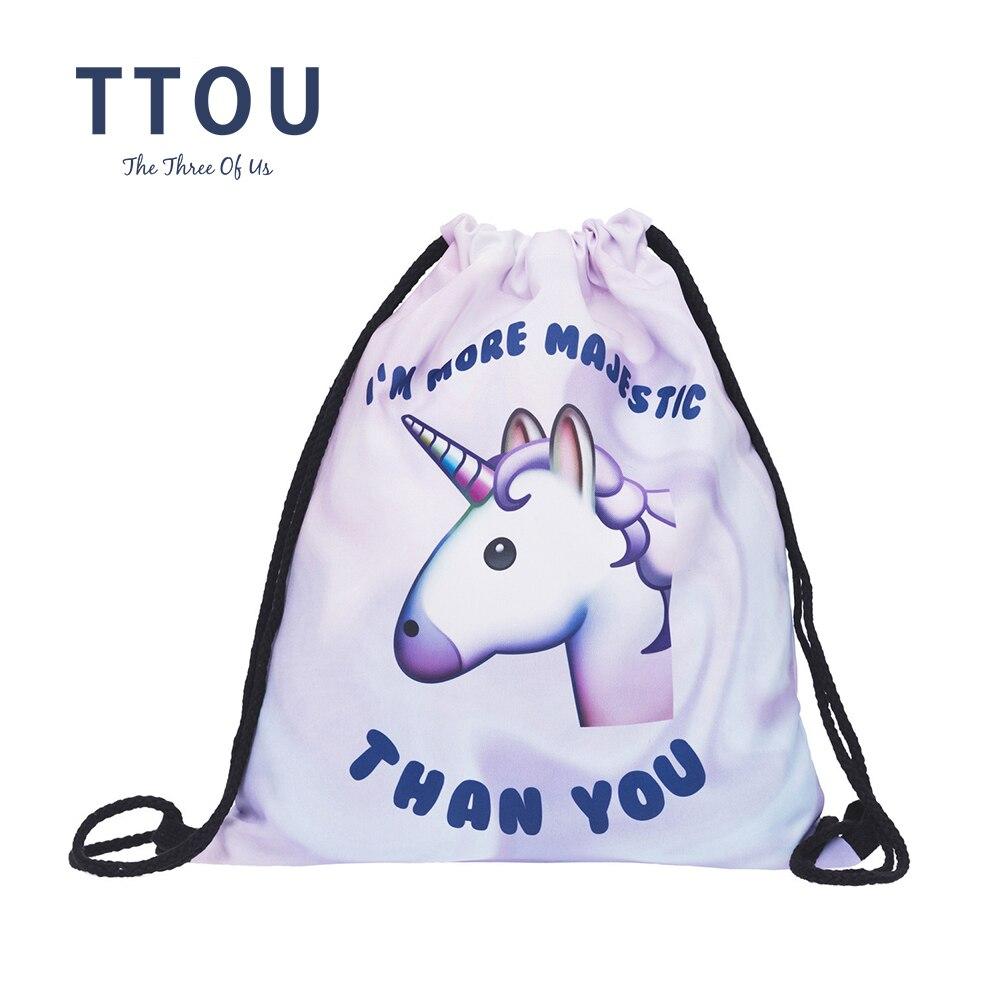TTOU Women Casual Backpack 3D Printing Fashion Travel SSoftback Mochila Drawstring Bag For School Girls Backpacks Sac A Dos