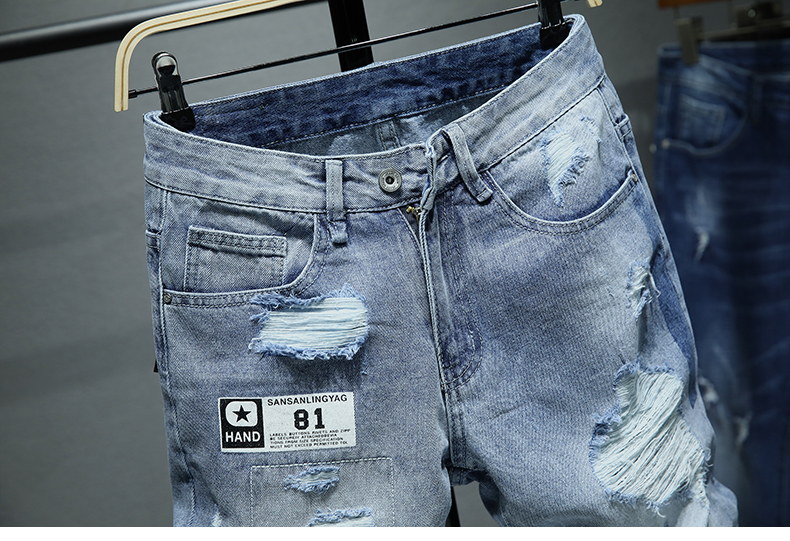 KSTUN Summer Shorts Jeans for Men Hip hop Ripped Jeans Man 100% Cotton Hollow out Cowboys Knee