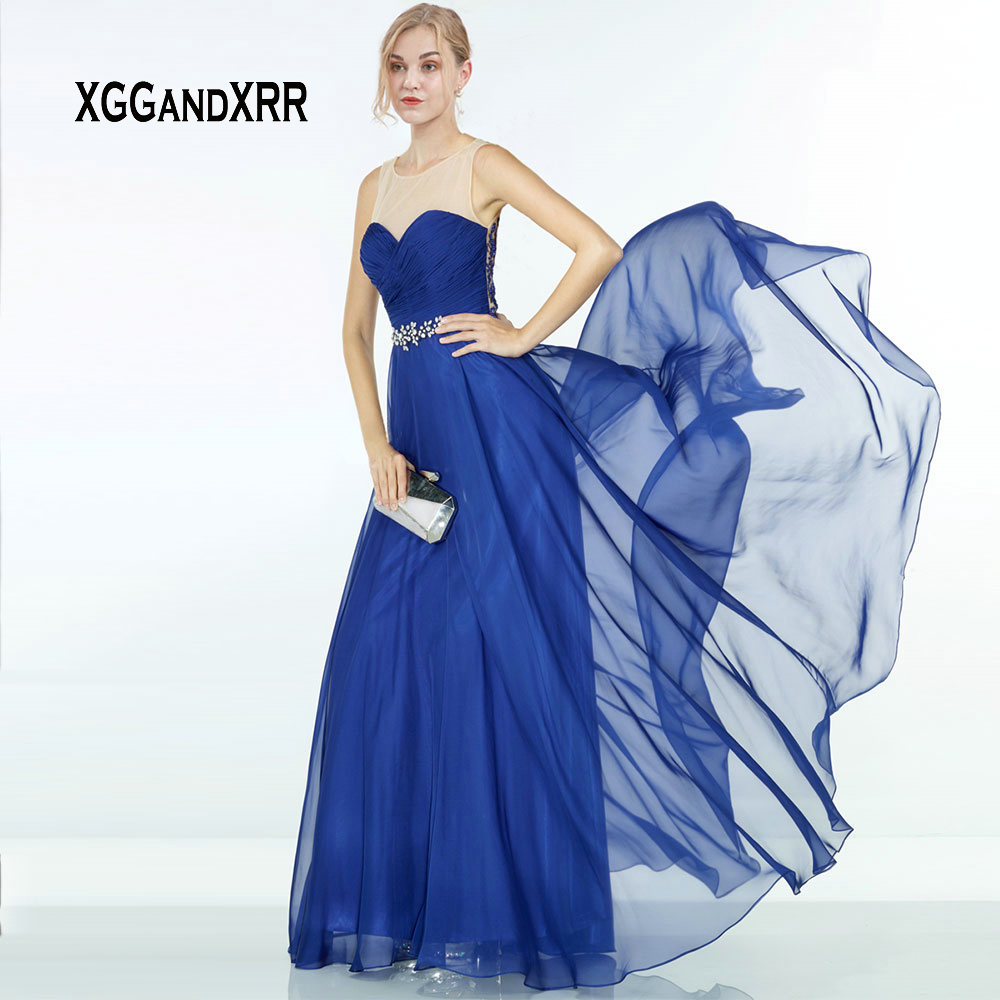 Luxury Blue Chiffon   Prom     Dress   2019 Illusion Back Beading Sexy Long Evening   Dresses   robe de soiree Plus Size Formal Gowns