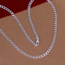 Best Gift silver fashion necklaces for women 2015 4mm 16 30 Sideways bijouterie SMTN132