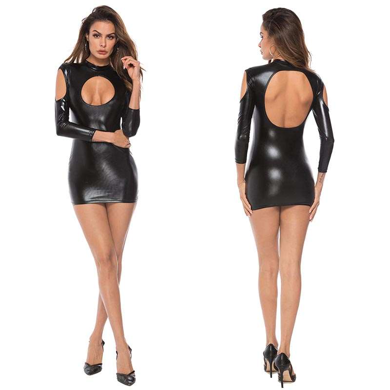 Wet Leather Look Mini Dress Open Shoulder Long Sleeve Black
