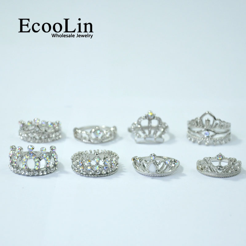 Image 4 - 50Pcs EcooLin Jewelry Fashion Zircon Shiny Crown Silver Plated Rings Lots For Women Bulk Packs LR4024-in Rings from Jewelry & Accessories