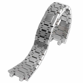 28mm Wrist Band Strap Solid Link Stainless Steel Bracelet Silver For AP Watch Push Button Replacement Men + 2 Spring Bars - DISCOUNT ITEM  26% OFF All Category