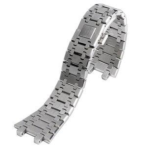 Image 1 - 28mm bilek bandı kayışı katı bağlantı paslanmaz çelik bilezik gümüş AP İzle basma düğmesi değiştirme erkekler + 2 bahar çubukları