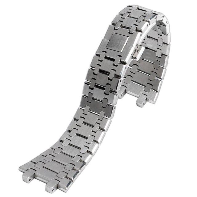 28mm bilek bandı kayışı katı bağlantı paslanmaz çelik bilezik gümüş AP İzle basma düğmesi değiştirme erkekler + 2 bahar çubukları