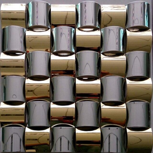 Convex Design Golden Mixed Silver Stainless Steel Metal Mosaic Tile For Kitchen Backsplash Tiles Sunroom