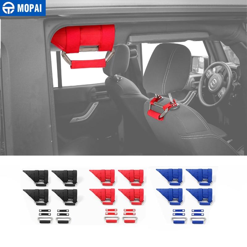 MOPAI siège intérieur de voiture appuie-tête poignées d'appui accoudoir poignées accessoires de voiture pour Jeep Wrangler JK 2007-2017 style de voiture