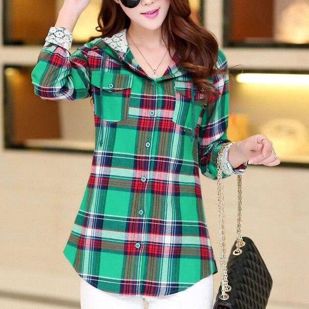 Fashion Slim Women Flannel Plaid Shirt with Hood Red,Blue,Green ...