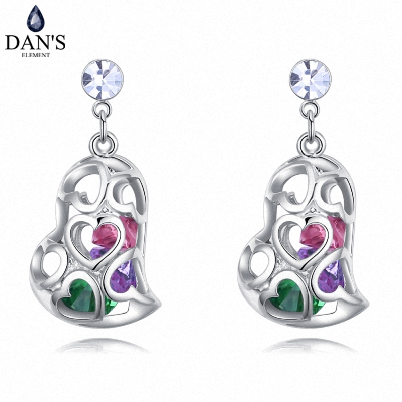 DANS Colors Real Austrian crystals Stud earrings for women Earrings s New Sale Hot Round 128025