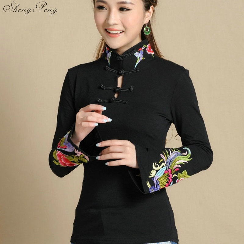 Cheongsam Top Traditional Chinese Clothing For Women Long Sleeve National Style Tops For Women's Trend Vintage Fluid Q605