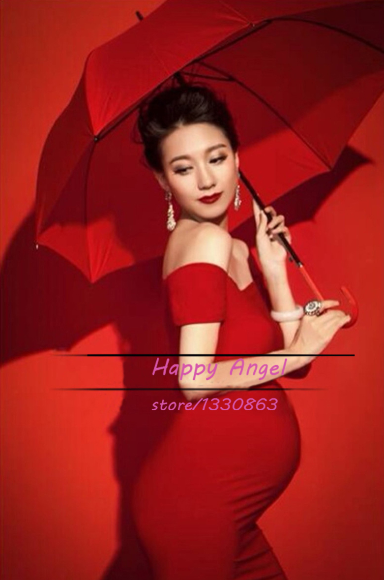New Maternity Pregnant women Photography Props pregnant women Dress Pregnancy Pure Red color Fashion costume size L Baby shower pregnant women dress new fashion korean version fall