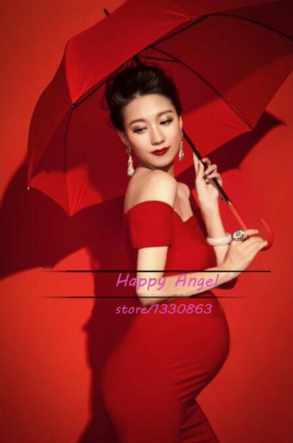 New Maternity Pregnant women Photography Props pregnant women Dress Pregnancy Pure Red color Fashion costume size L Baby shower