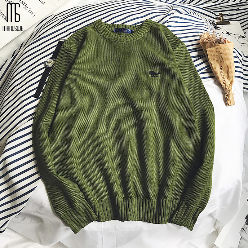 Manoswe Long Sleeve Pullovers Sweaters Men Hong Kong Style Youth Student Sweater Fashion Round Neck Outwear Sweaters Tops Jumper