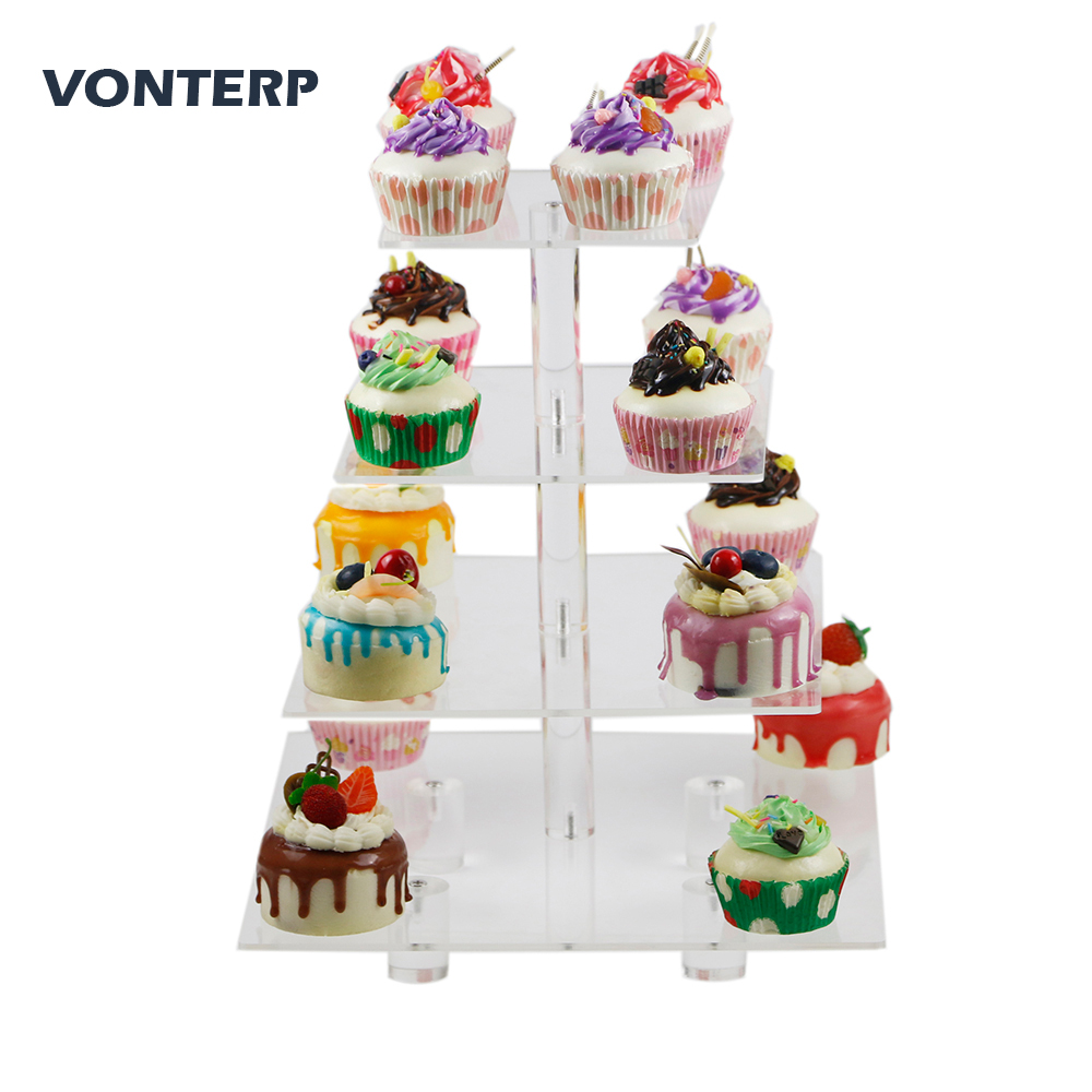 VONTERP square transparent 4 Tier Acrylic Cupcake Display Stand/acrylic cake stand with base 4 Tier Square(4 between 2 layers)VONTERP square transparent 4 Tier Acrylic Cupcake Display Stand/acrylic cake stand with base 4 Tier Square(4 between 2 layers)