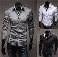 Мужчины Рубашка Мода Хлопок Тонкий Мужчины Рубашка С Длинным Рукавом Высокого Качества Вскользь Черный/Белый/Серый Мужчины Рубашка размер мужчин: М-XXXL