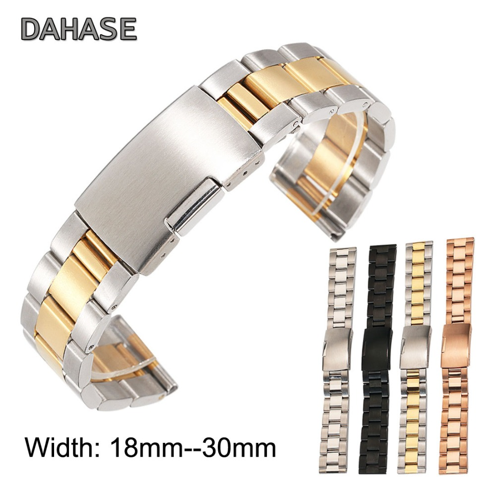 DAHASE General 18mm 20mm 22mm 24mm 26mm 28mm 30mm Solid Classic Stainless Steel Watch Band Strap Metal Watchband Belt OL3Z dahase 14mm 16mm 18mm 19mm 20mm 21mm 22mm 24mm solid classic stainless steel watch band strap watchband free shipping
