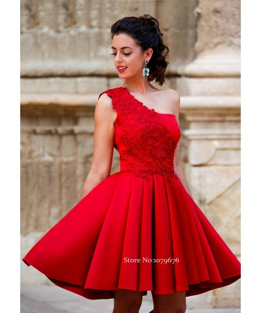 New Arrival 2016 Cheap Short Formal Party Gowns One Shoulder Red Homecoming  Dresses Lace Juniors Graduation Dress A-Line DSH011 617f7bbd70f8