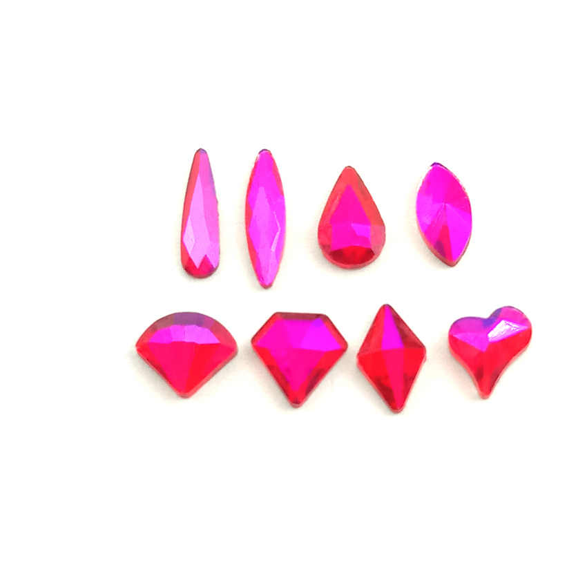 5pcs Crystal Flatback Nail Rhinestones Gems DIY 3D Heart Oval Marquise Rhombus Diamond Stones Nail Art Decoration Glitter Red AB
