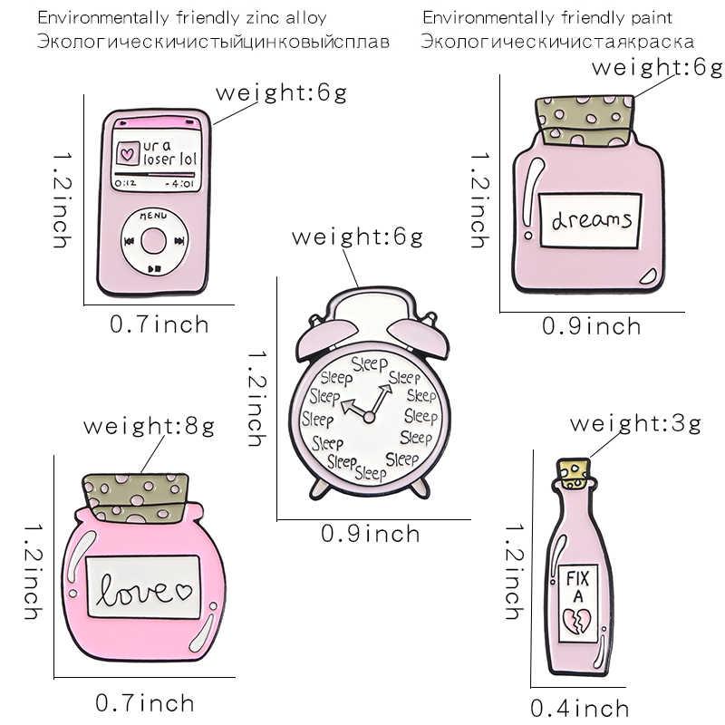 Розовые часы музыкальный плеер бутылка эмалированные булавки будильник для сна Fix любовь мечта броши в виде бутылки значки значок на лацкан подарок для друга