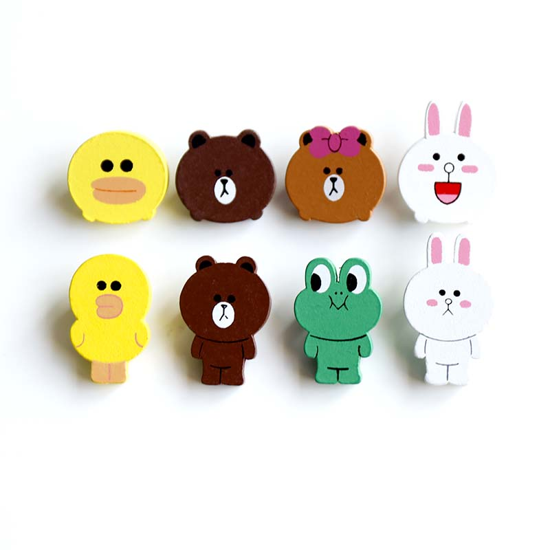 Nengdou M7 Japanese Anime Badges Bear Icon Cartoon Wooden Brooches For Children Backpack Icon Clothes Decoration Accessories