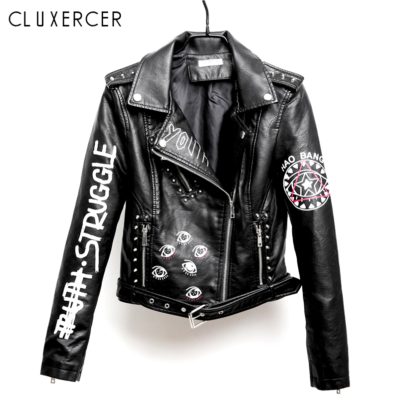 Printed Letters Rivet Faux   Leather   Jacket Women Punk Moto Black Slim Cool Lady Pu   Leather   Jackets Femme Outwear Coat