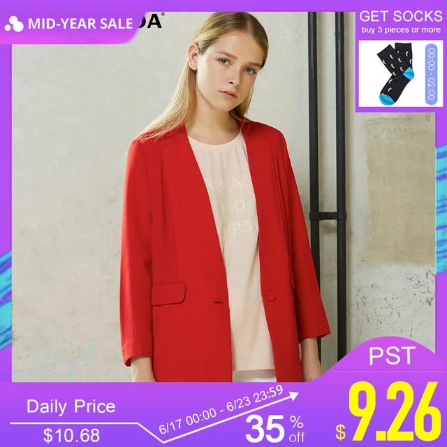 Vero Moda מותג 2018 ישר מוצק צבע תעלת מעיל צווארון V יחיד חזה שלושה רובע שרוול שיפון נשים חליפת | 316108029