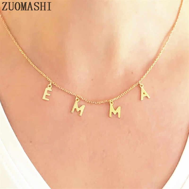 Dangled Name Necklace Personalized Initial Necklace Dangle Name Choker Custom Name Necklace Name Jewelry For Women