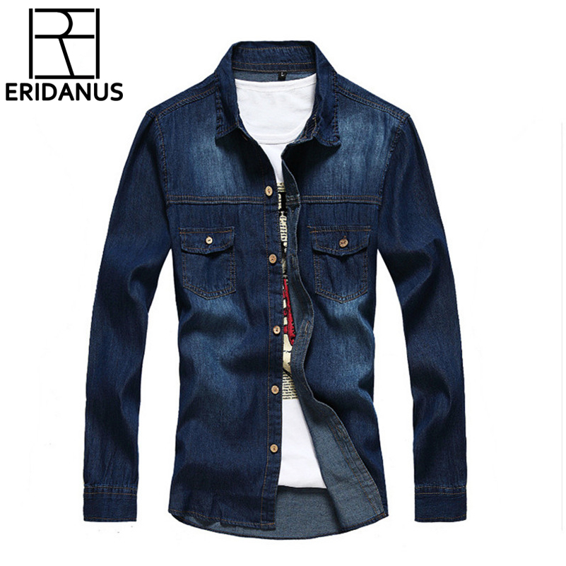 2016 Spring Summer New Arrival Long-sleeved Denim Shirt Slim European Style Casual Men's Light-colored Thin Section Shirts X006