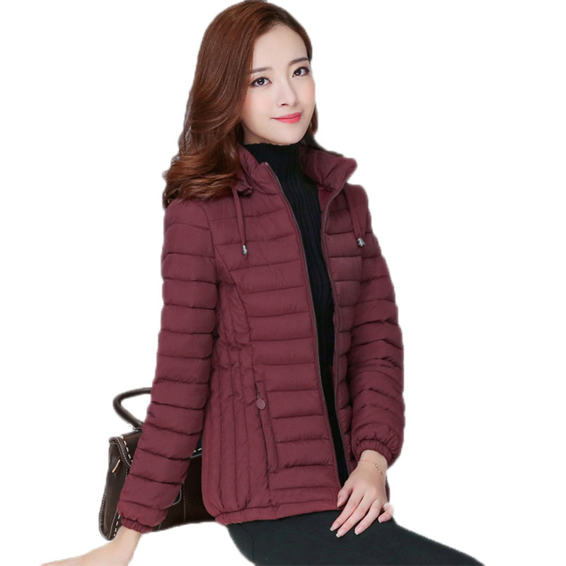 2018 New Women Autumn Winter Warm Down Cotton Jackets Coat Female Hooded Parka Ladies Casual Slim Zippers Jackets Outwear O68
