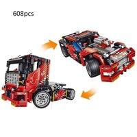 Hot Technics Technology Racing Super Sports Cars 2in1 Building Block Model Trucks Trailer Head Bricks Toys