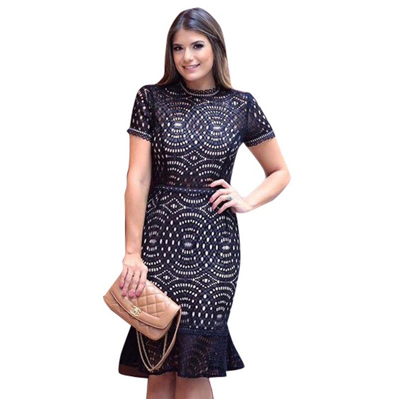 2017 New Cheap Plus Size Short Sleeves Vintage Medieval: Black Lace Party Dress New 2017 Women Summer Short Sleeve