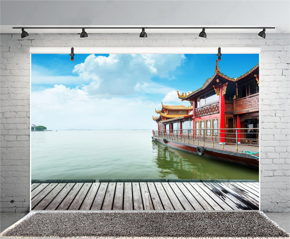 Laeacco Chinese Architecture Boat Wooden Floor Scene Photographic Backgrounds Customized Photography Backdrops For Photo Studio