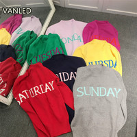 2017 Spring Fashion Ins One Week Letter Knitted Women Sweater