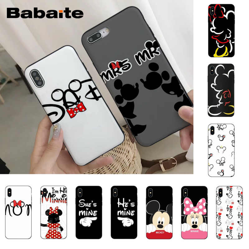 Babaite Minnie Mickey Mouse น่ารักการ์ตูน MR MRS สำหรับ iPhone 8 7 6 6S Plus X XS XR XSMax 5S11 11pro 11promax